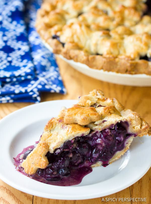 Amazing Fresh Blueberry Pie with Almond Pie Crust | ASpicyPerspective.com