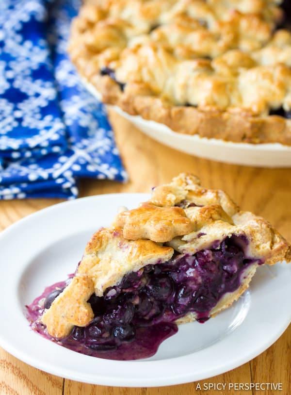Amazing Fresh Blueberry Pie with Almond Pie Crust | ASpicyPerspective.com