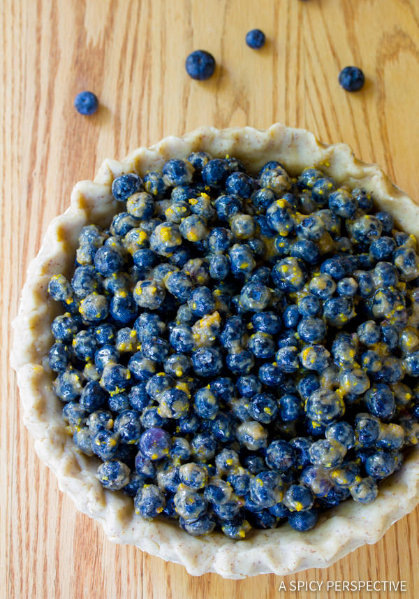 How To: Fresh Blueberry Pie with Almond Pie Crust | ASpicyPerspective.com