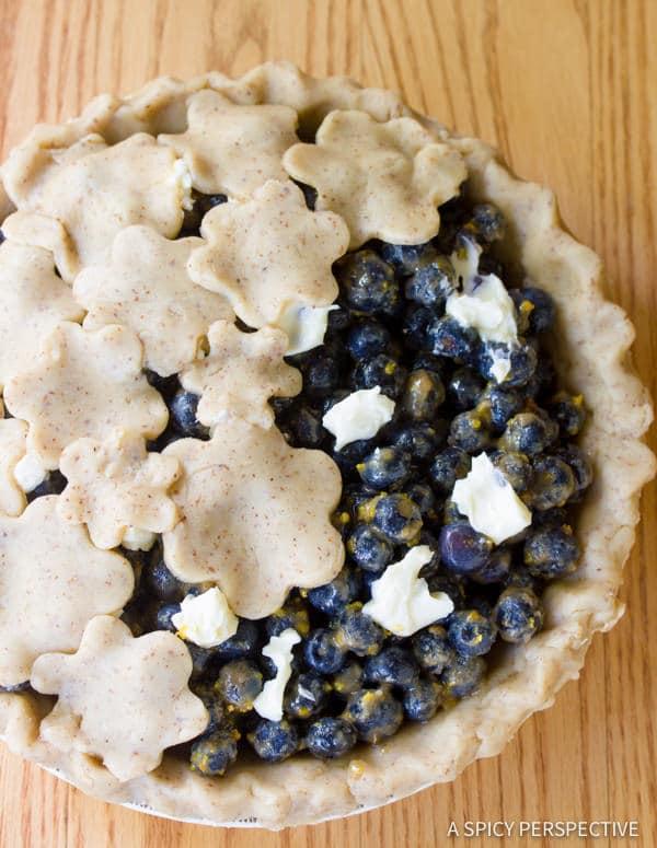 Simple Fresh Blueberry Pie with Almond Pie Crust | ASpicyPerspective.com