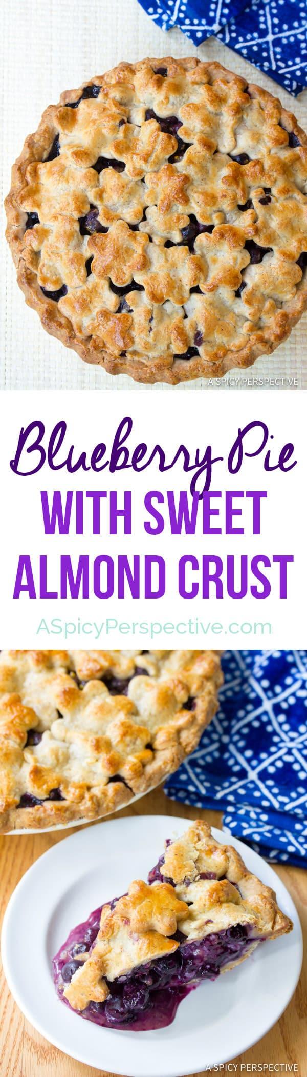 Fresh Blueberry Pie with Almond Pie Crust | ASpicyPerspective.com