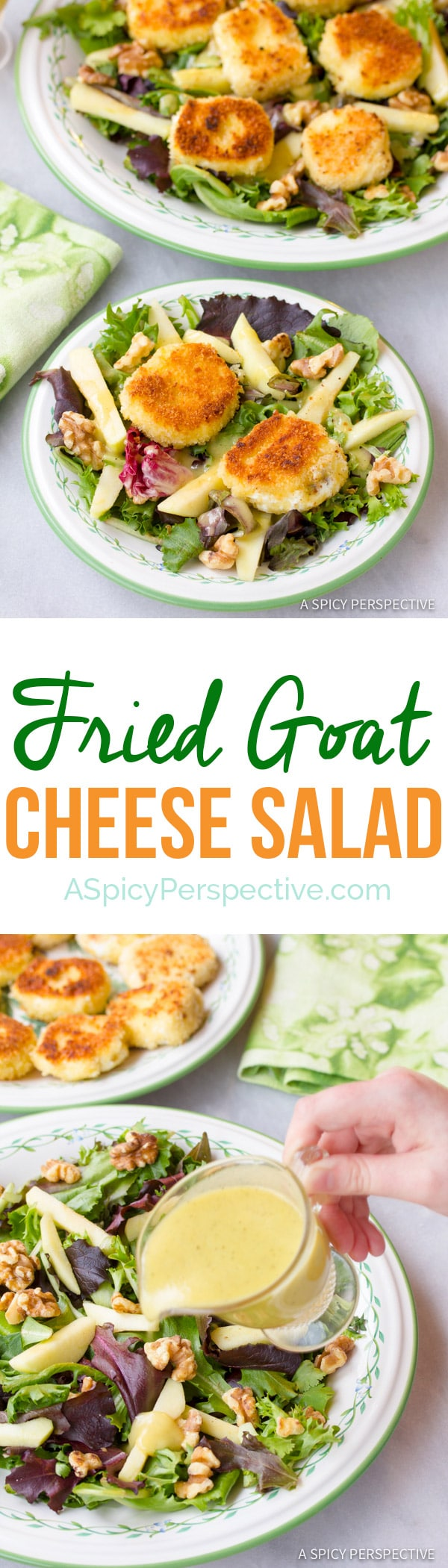 ... Goat Cheese Salad with apples, walnuts, and a creamy apple vinaigrette