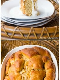 Sweet and Yeasty Apple Challah Bread Recipe with Cider Glaze on ASpicyPerspective.com