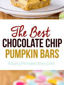 Perfect Chocolate Chip Pumpkin Bars | ASpicyPerspective.com #halloween
