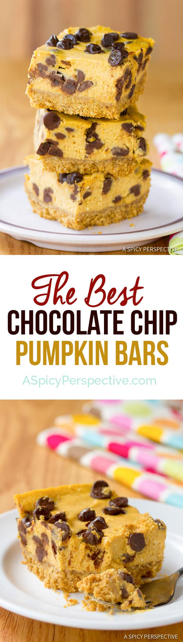 Perfect Chocolate Chip Pumpkin Bars | ASpicyPerspective.com #halloween