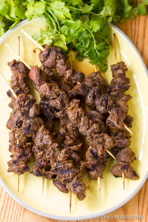 """Street Meat"" Grilled Lamb Kebabs   ASpicyPerspective.com"