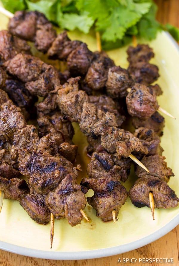 "Easy ""Street Meat"" Grilled Lamb Kebabs   ASpicyPerspective.com"