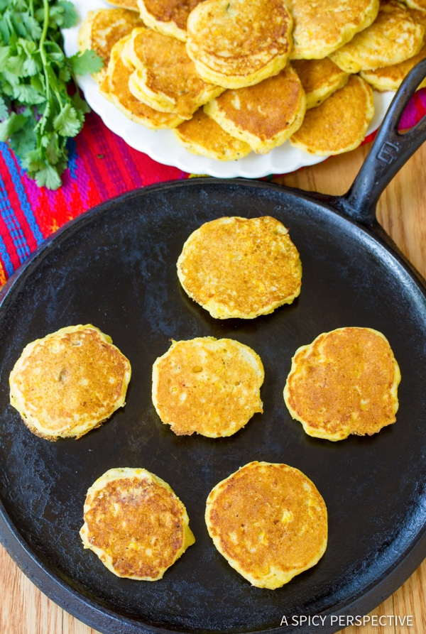 Tender Jalapeno Corn Cakes with Avocado Salsa | ASpicyPerspective.com