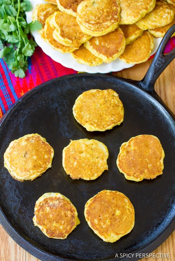 Tender Jalapeno Corn Cakes with Avocado Salsa | ASpicyPerspective.com