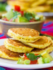 Jalapeno Corn Cakes with Avocado Salsa | ASpicyPerspective.com