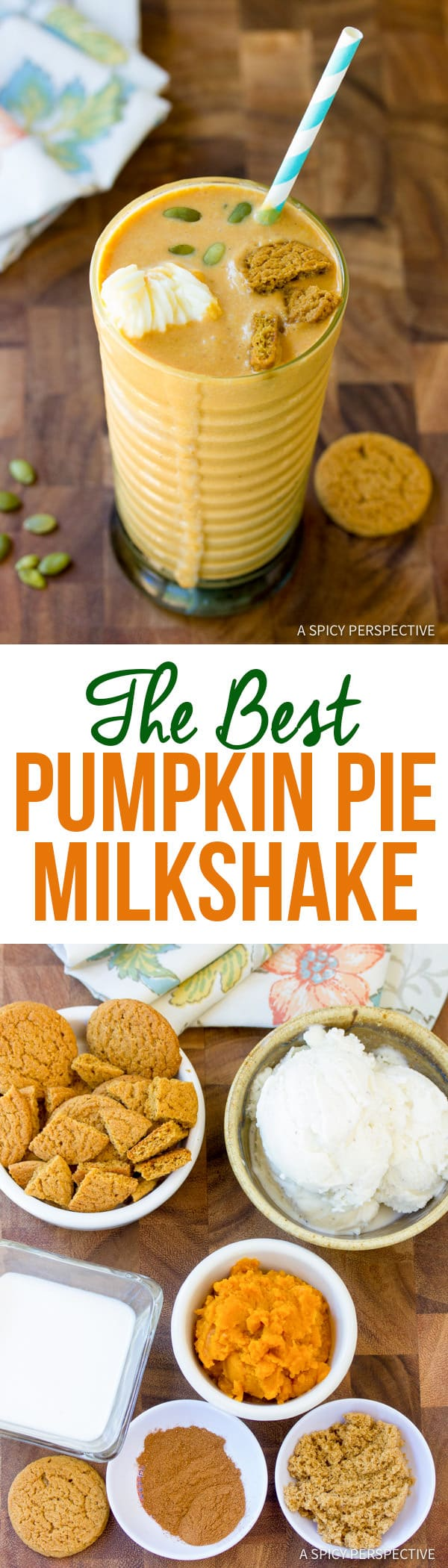 Simply The Best Pumpkin Pie Milkshake | ASpicyPerspective.com #halloween