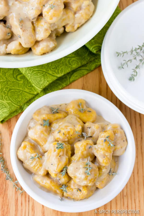 The Perfect Butternut Squash Gnocchi with Whiskey Cream Sauce | ASpicyPerspective.com