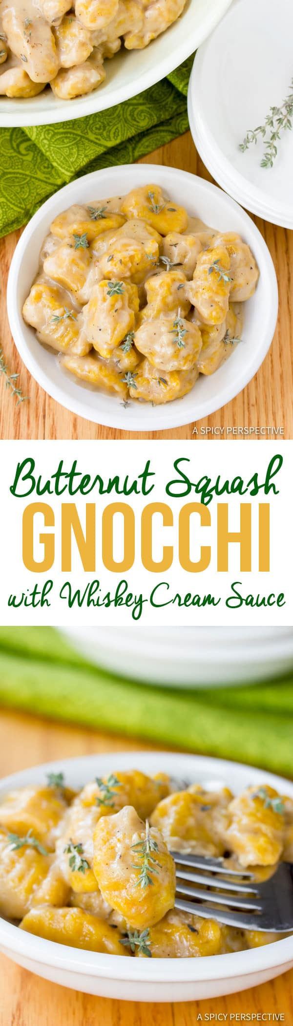 Amazing Butternut Squash Gnocchi with Whiskey Cream Sauce | ASpicyPerspective.com