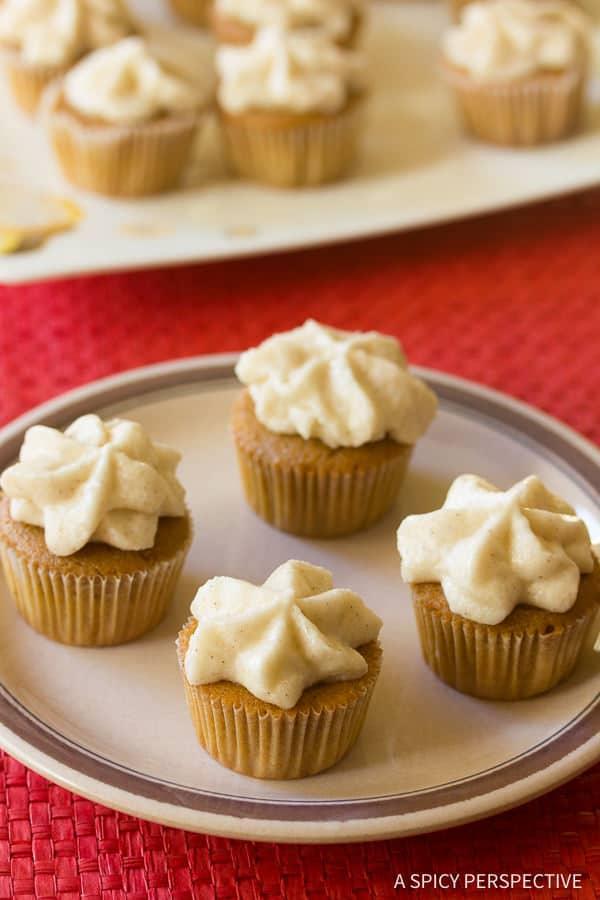 Easy Mini Spiced Chai Latte Cupcakes on ASpicyPerspective.com. #christmas #holidays #chai