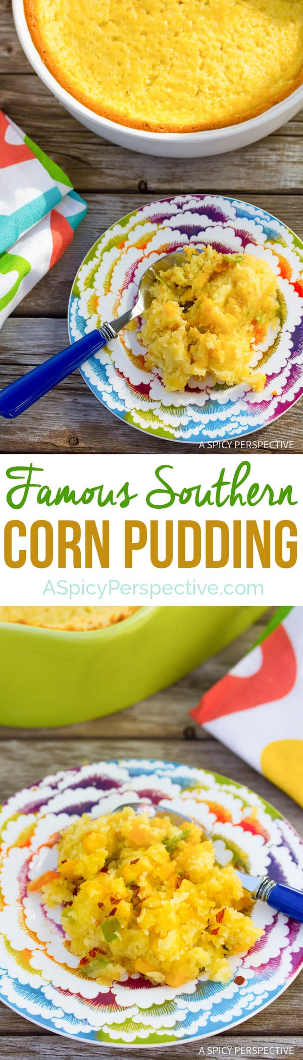 """Try this for the holidays - Famous Corn Pudding Recipe on ASpicyPerspective.com. Known as """"Damn Good Corn Pudding"""" in Asheville, NC. #thanksgiving"""