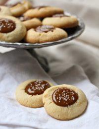 Dulce De Leche Caramel Nutella Thumbprint Cookies