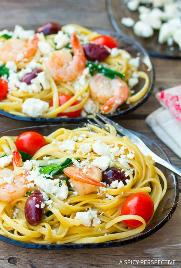 Silky Greek Shrimp Pasta on ASpicyPerspective.com