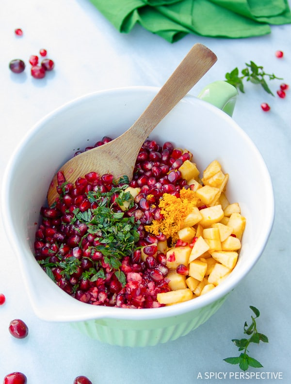 Make for Thanksgiving - Pomegranate Apple Cranberry Relish on ASpicyPerspective.com