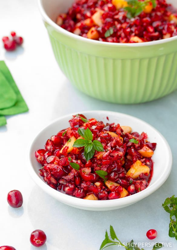 Best Thanksgiving Recipes - Pomegranate Apple Cranberry Relish on ASpicyPerspective.com