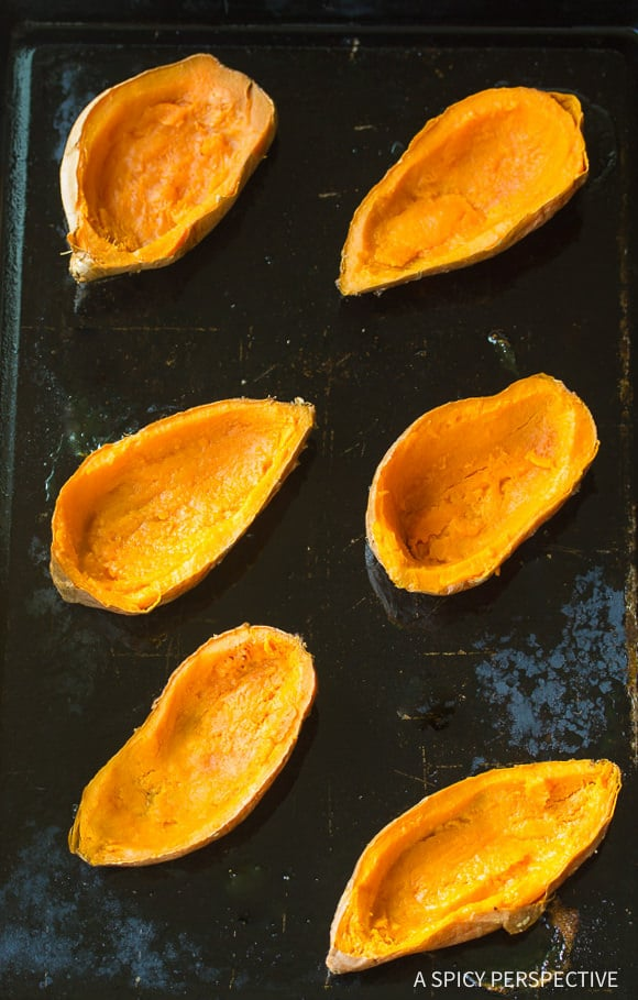 How to Make Twice Baked Sweet Potatoes with Bourbon and Hazelnuts on ASpicyPerspective.com #thanksgiving