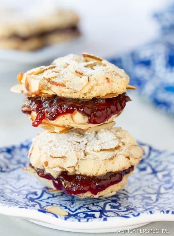 Gluten Free Almond Sandwich Cookies #christmas #holiday