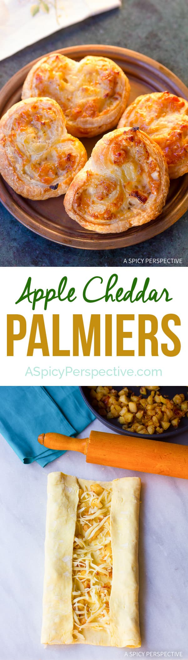 These Easy Apple Cheddar Palmiers on ASpicyPerspective.com are great for holiday parties!