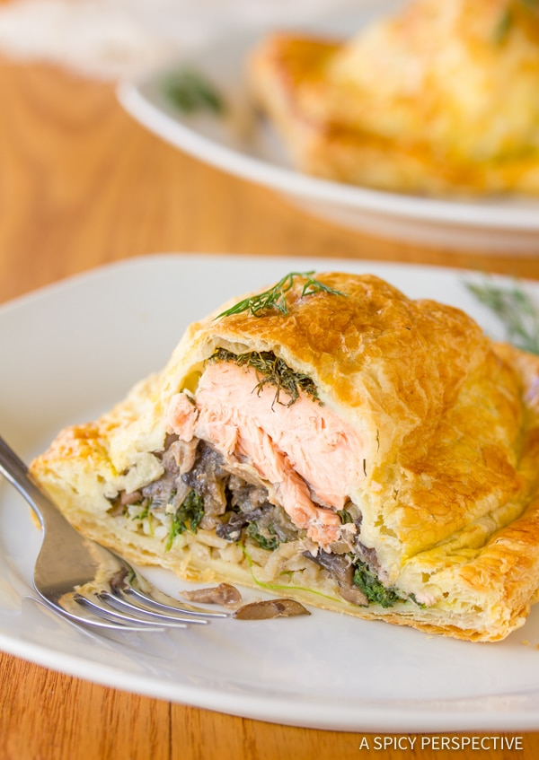Holiday Coulibiac of Salmon Recipe | ASpicyPerspective.com