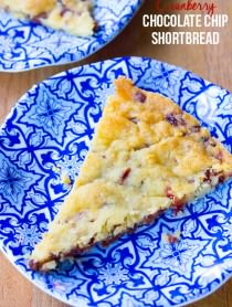 Crispy Cranberry Chocolate Chip Shortbread Cookies on ASpicyPerspective.com