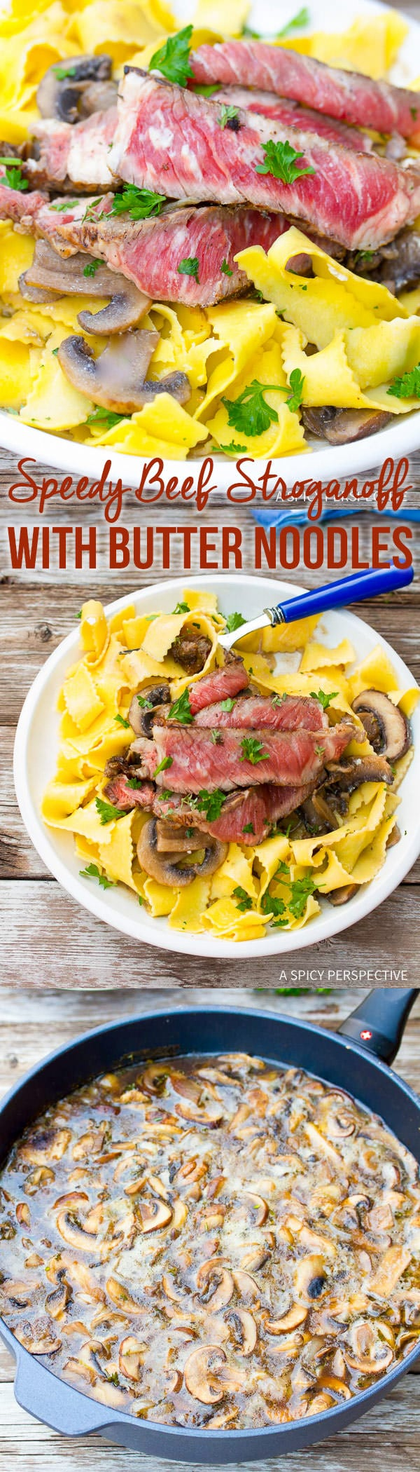 ... Easy Beef Stroganoff Recipe with Butter Noodles on ASpicyPerspective