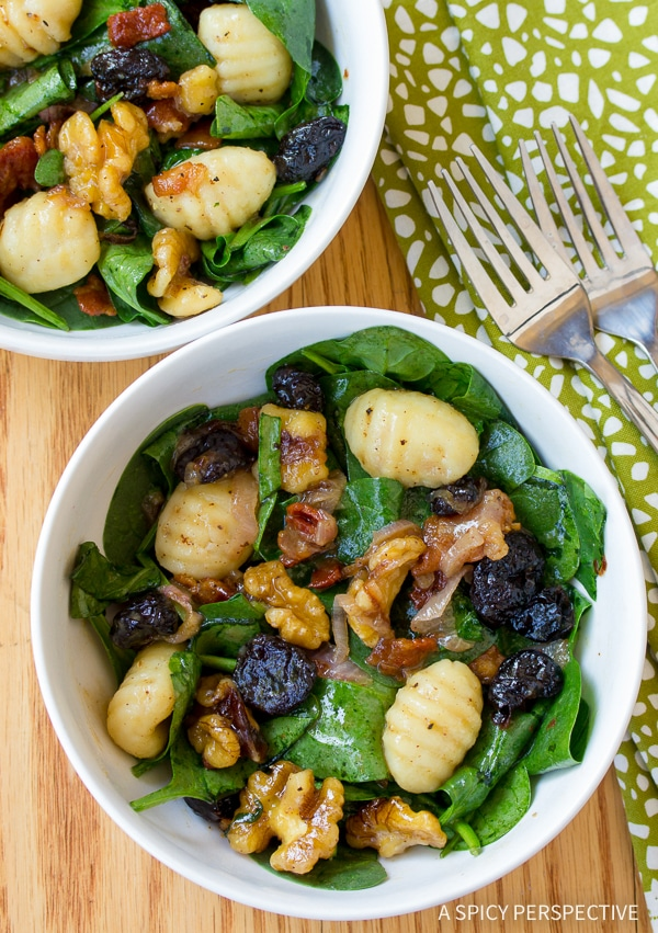 Warm Gnocchi and Wilted Spinach Salad Recipe