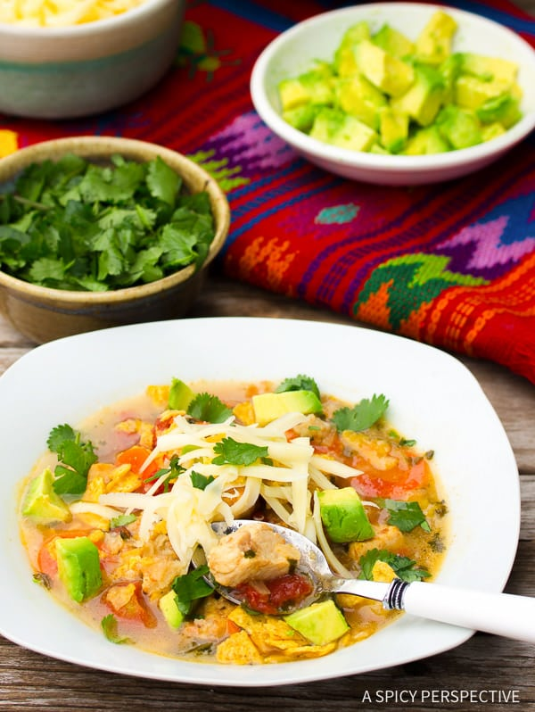 Easy Chicken Tortilla Soup Recipe on ASpicyPerspective.com