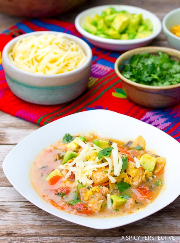 Best Ever Chicken Tortilla Soup Recipe on ASpicyPerspective.com