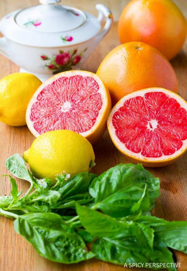 Making Healthy Grapefruit Basil Sorbet (Fat Free, Dairy Free, Gluten Free, Vegan) | ASpicyPerspective.com
