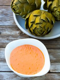 Roasted Red Pepper Aioli and Steamed Artichokes