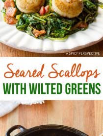 Rich and Healthy Seared Scallops with Wilted Greens | ASpicyPerspective.com