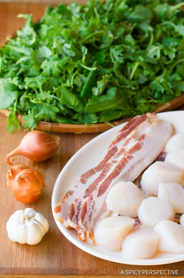 Making Seared Scallops with Wilted Greens | ASpicyPerspective.com