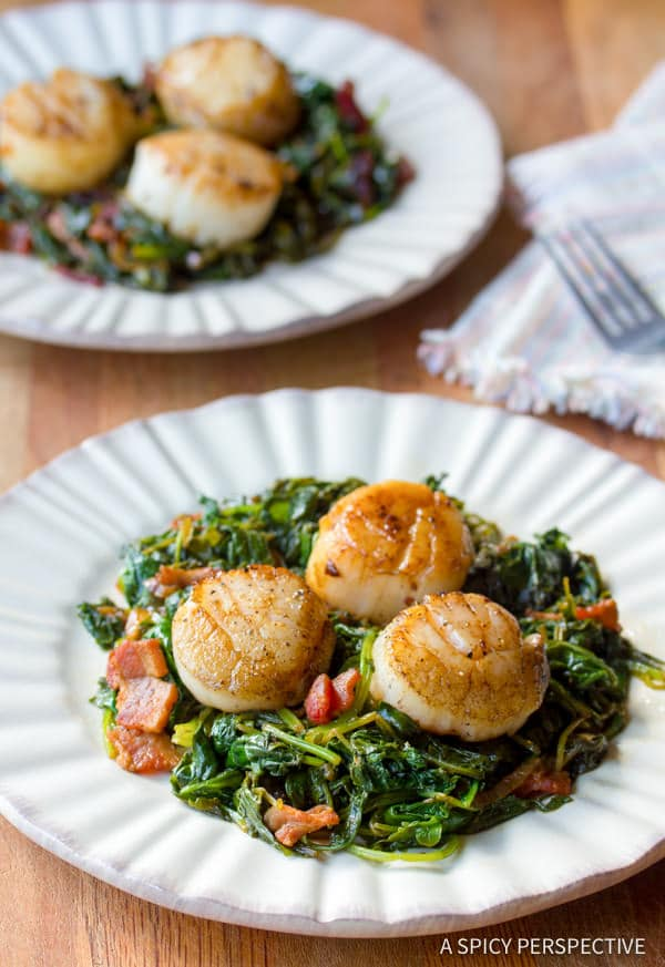 Seared Scallops and Wilted Greens - A Spicy Perspective