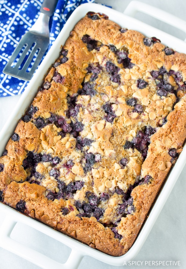 Tangy Blueberry White Chocolate Blondies Recipe #summer