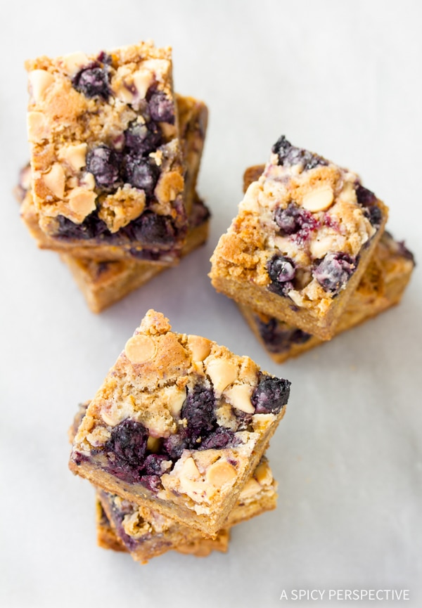... this decadent and perky Blueberry White Chocolate Blondies recipe