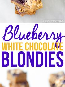 Perky Blueberry White Chocolate Blondies Recipe #summer