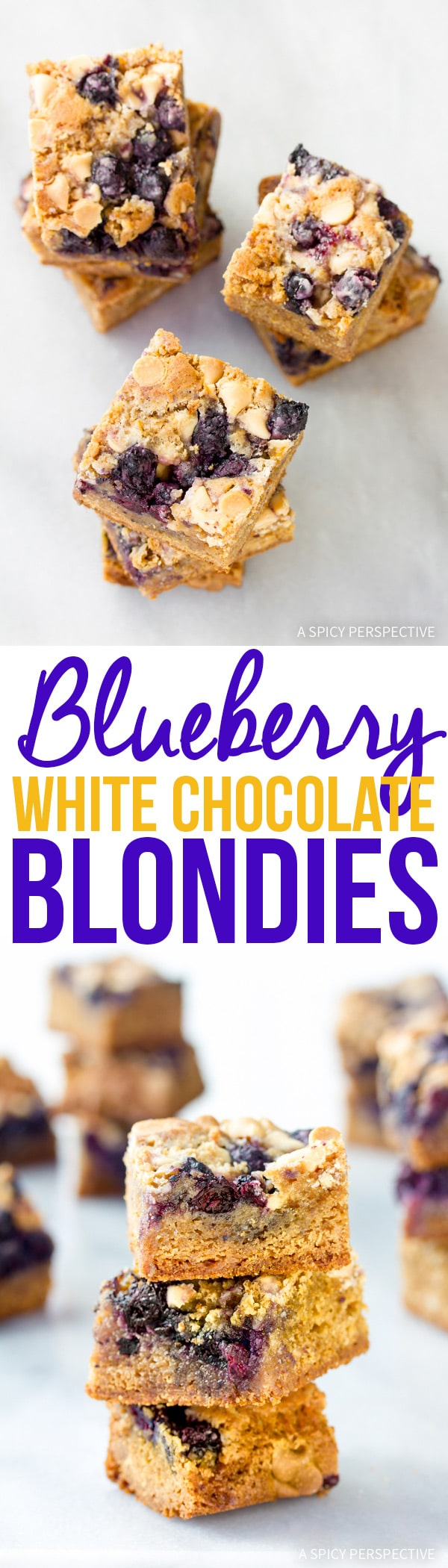 Perky Blueberry White Chocolate Blondies Recipe #summer