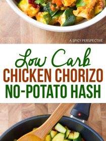"Easy Low Carb Chicken Chorizo ""No Potato"" Hash #healthy #paleo"