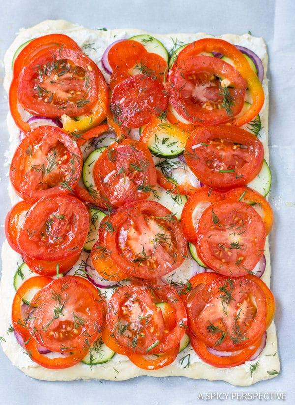Making Roasted Vegetable Flatbread   ASpicyPerspective.com