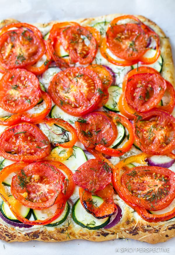 How to Make Roasted Vegetable Flatbread | ASpicyPerspective.com