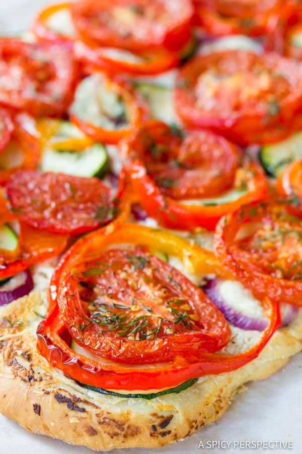 Simple Roasted Vegetable Flatbread | ASpicyPerspective.com