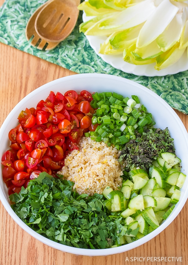 Making Tabouli with Feta and Endive