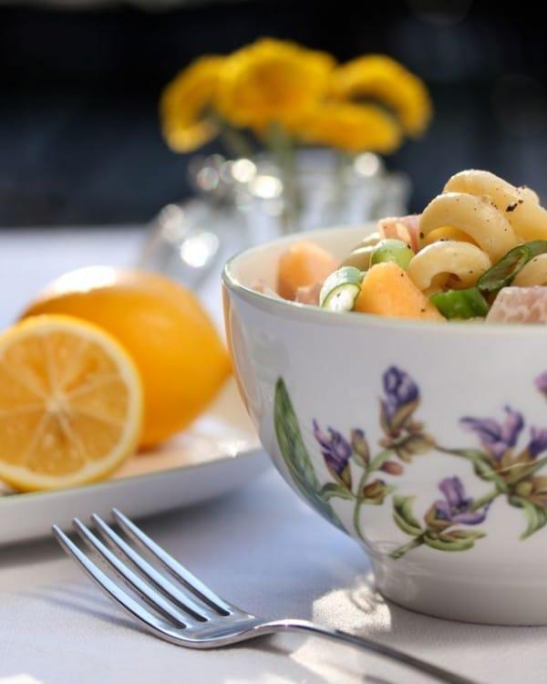Fresh Prosciutto and Edamame Pasta with Lemon Glaze on ASpicyPerspective.com #pasta #spring