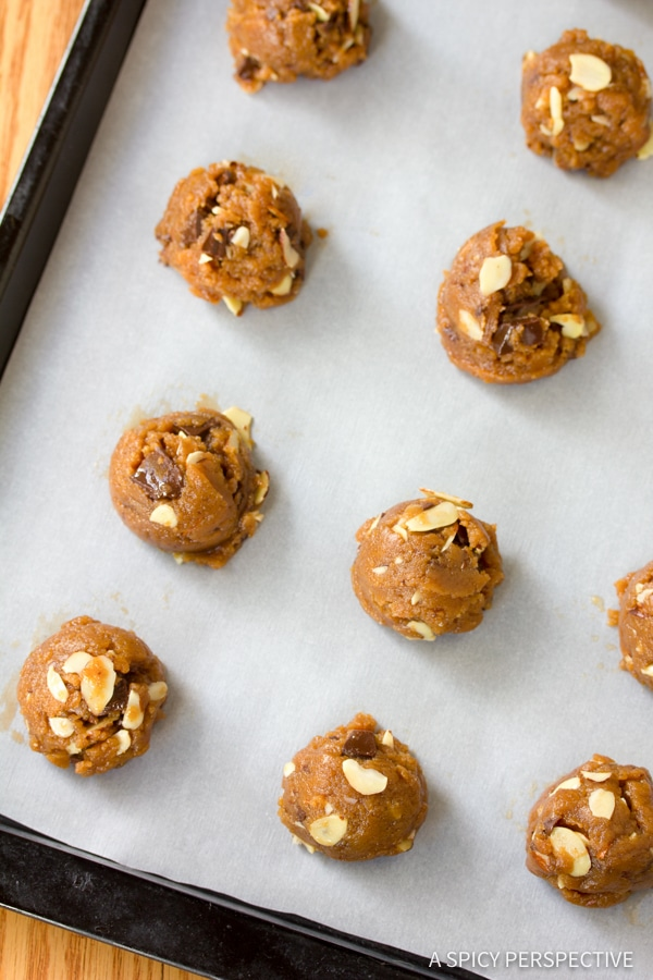 Making Almond Butter Chocolate Chunk Cookies | ASpicyPerspective.com