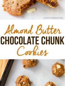 Perfect Almond Butter Chocolate Chunk Cookies | ASpicyPerspective.com