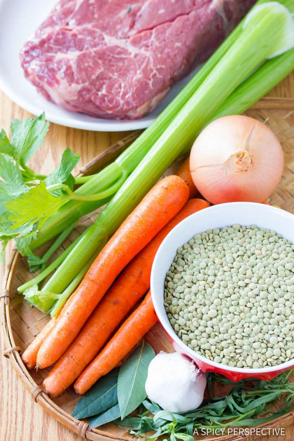 Making the Best Beef and Lentil Stew Recipe | ASpicyPerspective.com #healthy